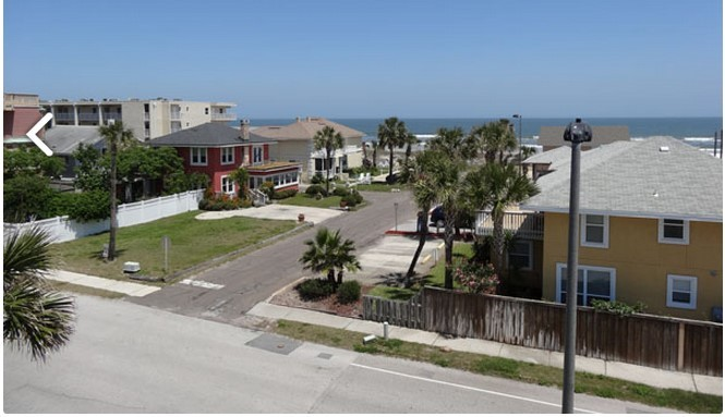 Ocean view from second floor, unit #2, Cottages at Jax Beach