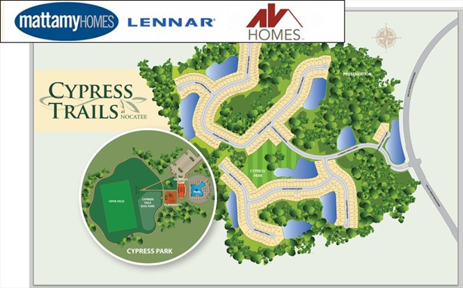 Lennar, AVHomes and Mattamy soon starting to release lots in Cypress Trails.