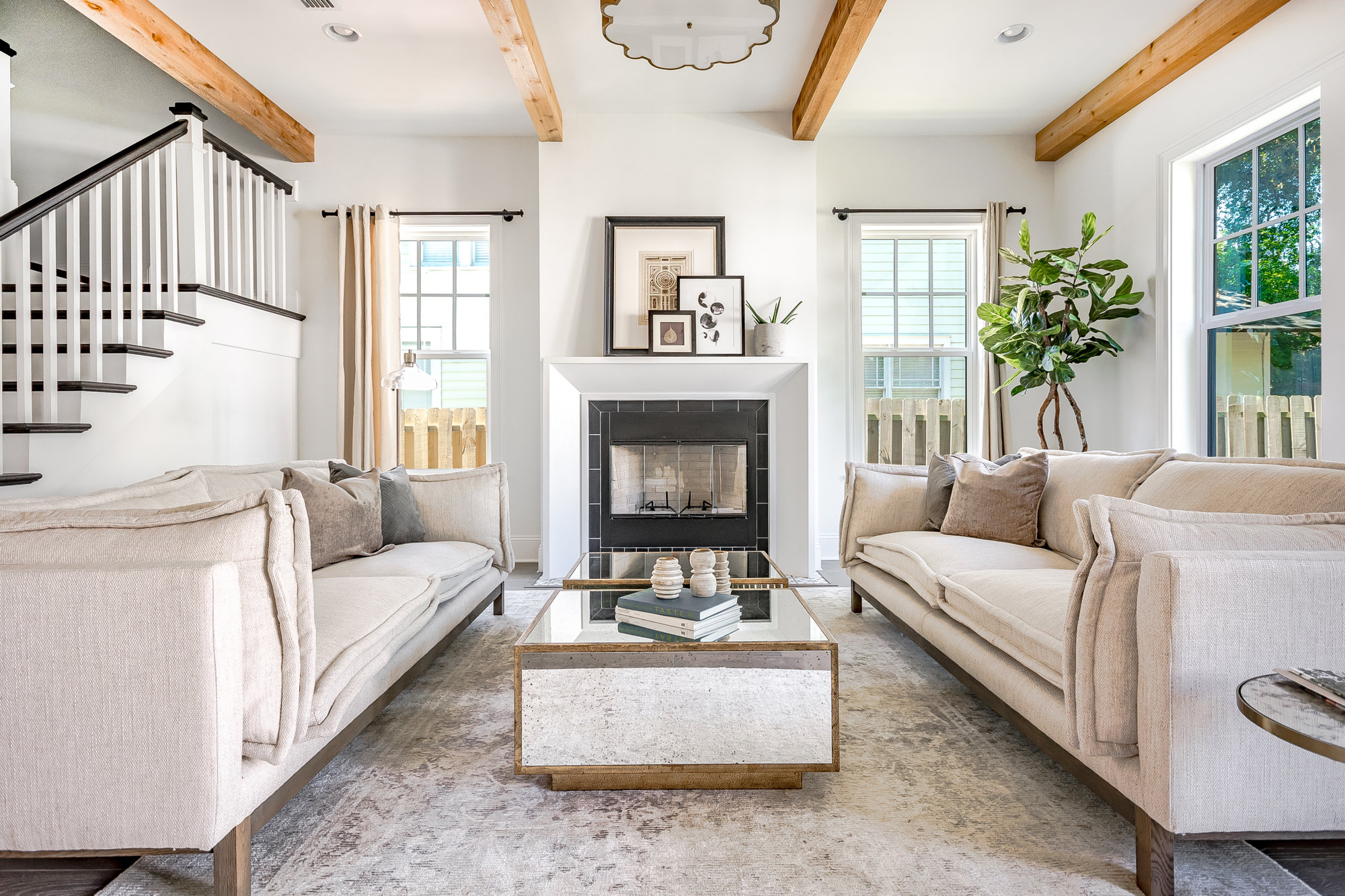 Living room in Avondale home with neutral color home staging